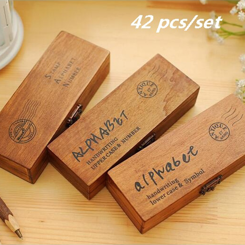 42PCS Set Handwriting Alphabet Letter Wooden Stamp Set DIY Decorative Stamp Wooden Box Funny Work 3designs