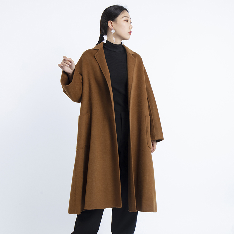 2019 winter wool coat women ladies cashmere and woolen long elegant coat autumn plus size belt clothes in Wool amp Blends from Women 39 s Clothing