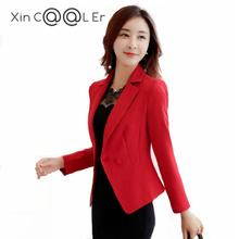цены 2017 Spring New Small Suit Slim Thin Single Row One Buckle Female Suit Jacket Solid Color Large Size Women Long Sleeve Blazer