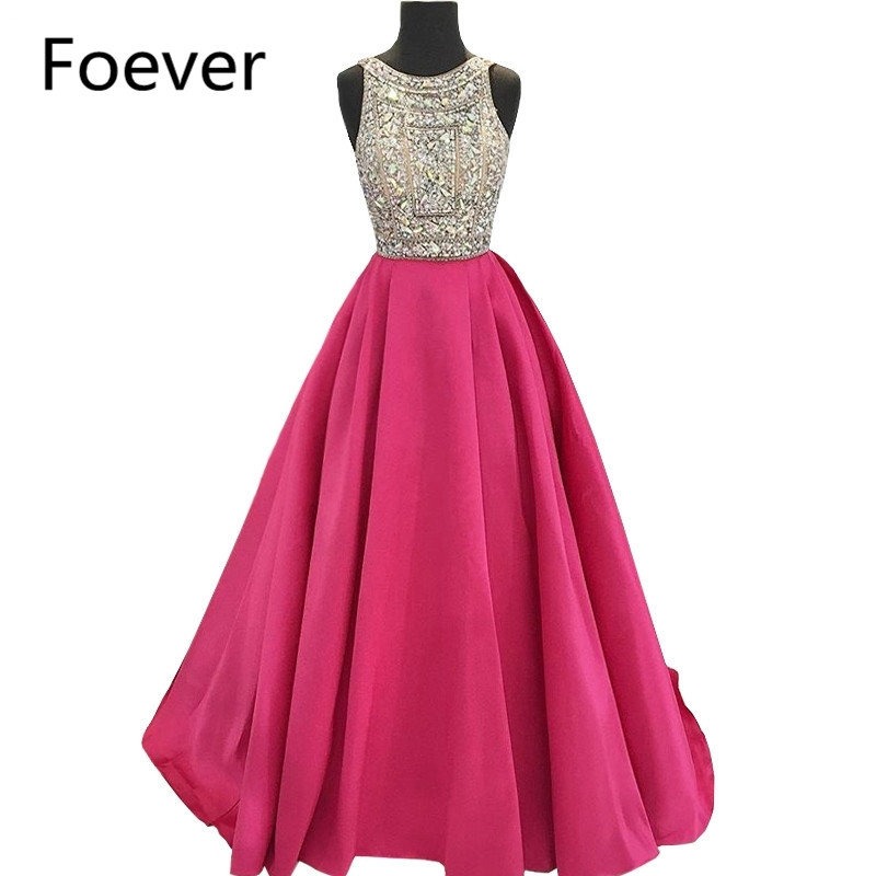 A Line Scoop Neck Sleeveless Silver Beaded Crystals Top Hot Pink Satin Long Evening Dress robe de mariee Prom Gowns