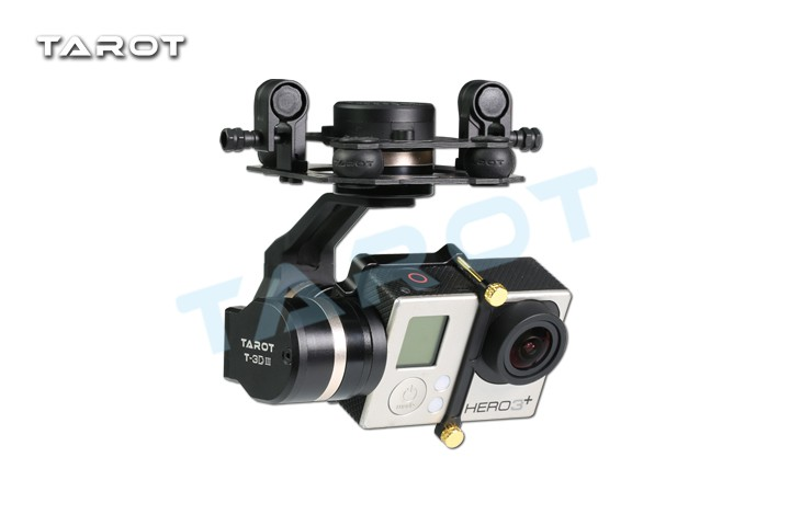 Tarot TL3T01 Update from T4-3D 3D Metal 3-axis Brushless Gimbal for GOPRO 4 3+3 FPV Photography F17391 fpv 3 axis cnc metal brushless gimbal with controller for dji phantom camera drone for gopro 3 4 action sport camera only 180g