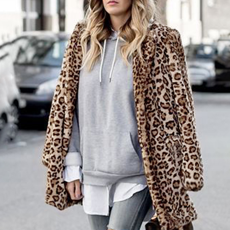 Thick For Trench Fur Faux Casual Collar Winter Warmer 6q2345 Elegant Women Long Autumn Outwear 2018 Down Turn Coat Leopard fCFwRxnqa