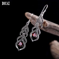 S925 sterling silver jewelry earrings Thai silver handmade ladies elegant water drops natural pomegranate red earrings