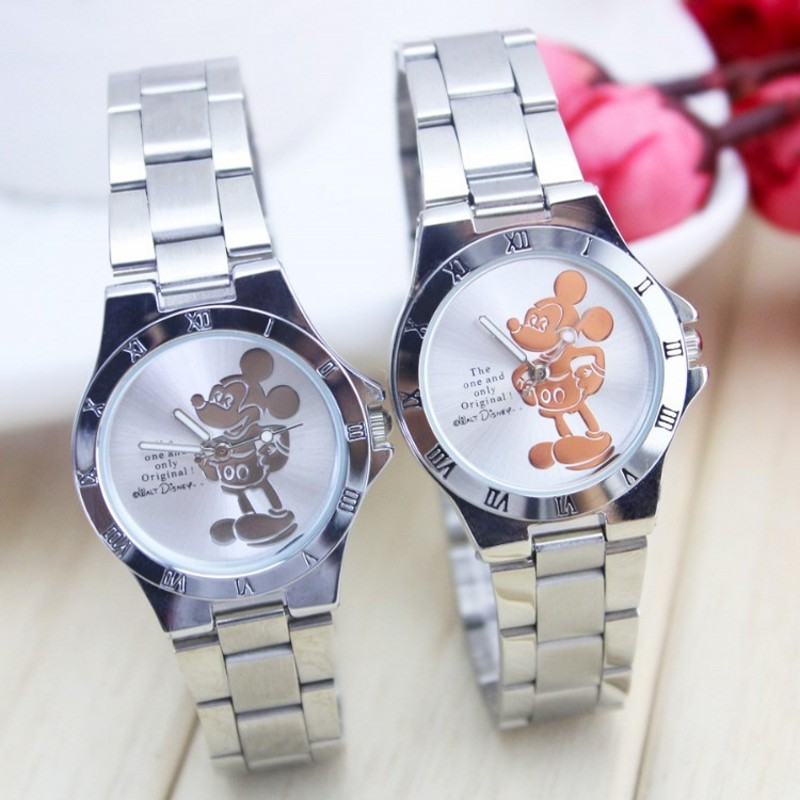New luxury brand mickey minnie women watch fashion silver ladies wristwatch full steel women's watches saat relogio feminino(China)