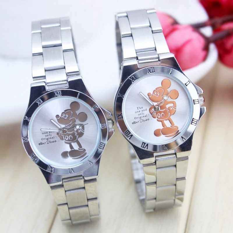 New luxury brand mickey minnie women watch fashion silver ladies wristwatch full steel women's watches saat relogio feminino