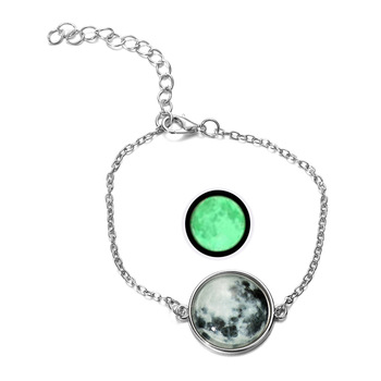 DIEZI Glow In The Dark Glass Cabochon Gray Moon Luminous Jewelry Silver Chain Link Bracelets 4
