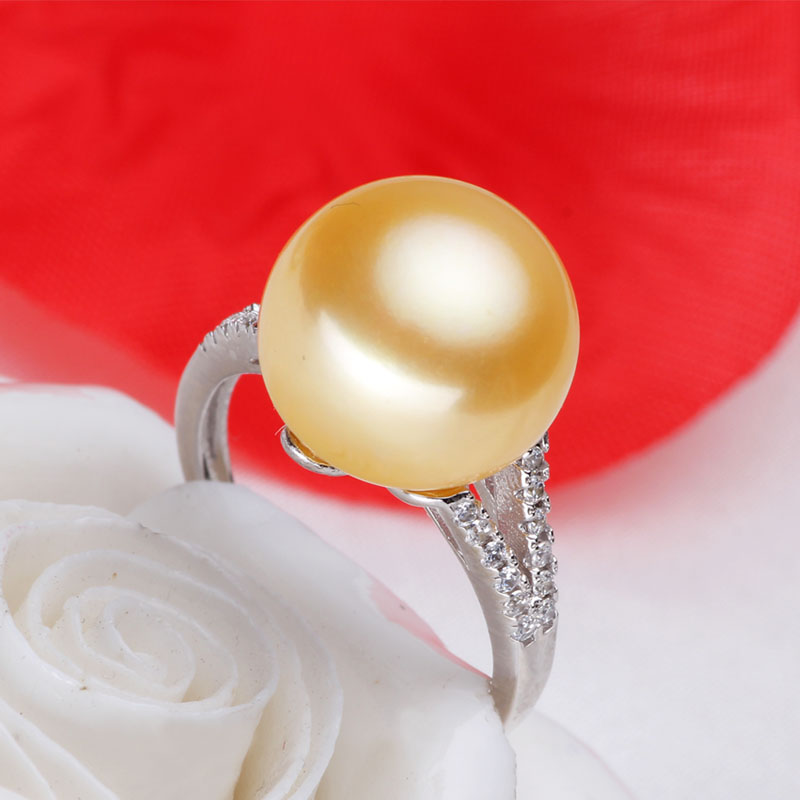 Women Gift word 925 Sterling silver real [bright pearl] golden pearl ring, 12mm-13mm natural freshwater pearl, 925 silver, 2014