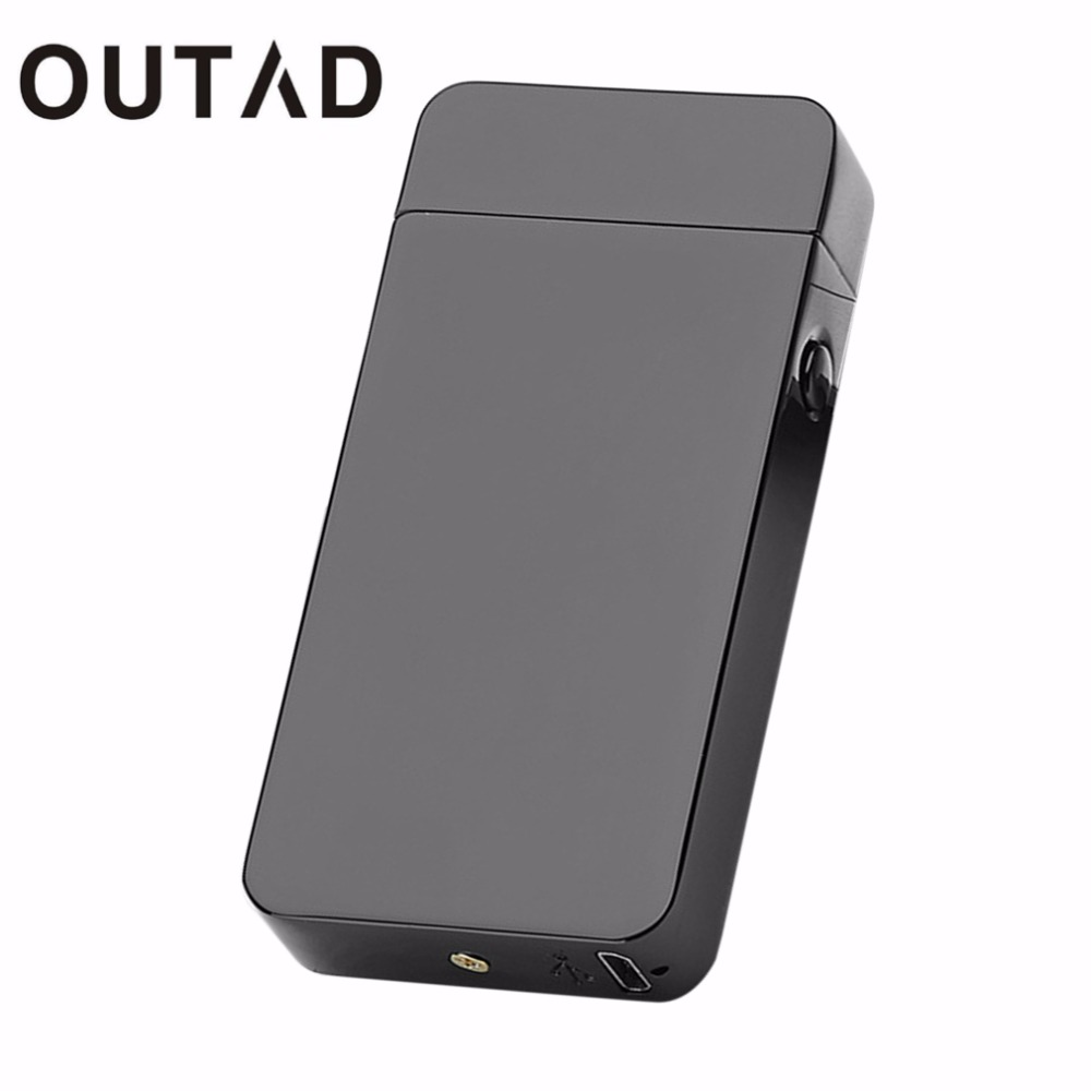 OUTAD USB Electric Dual Arc Lighter Metal Flameless No gas or fuel Torch Rechargeable Windproof Lighter With Craft gift Box