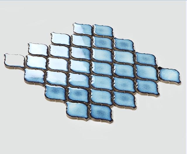 Linterna azul de cerámica del azulejo del mosaico backsplash de la ...