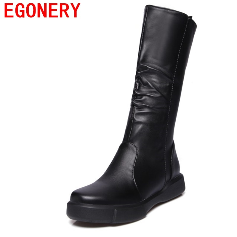 EGONERY women mid calf boots woman round toe European style black white brand shoes for winter 2018 new come winter boots woman цена