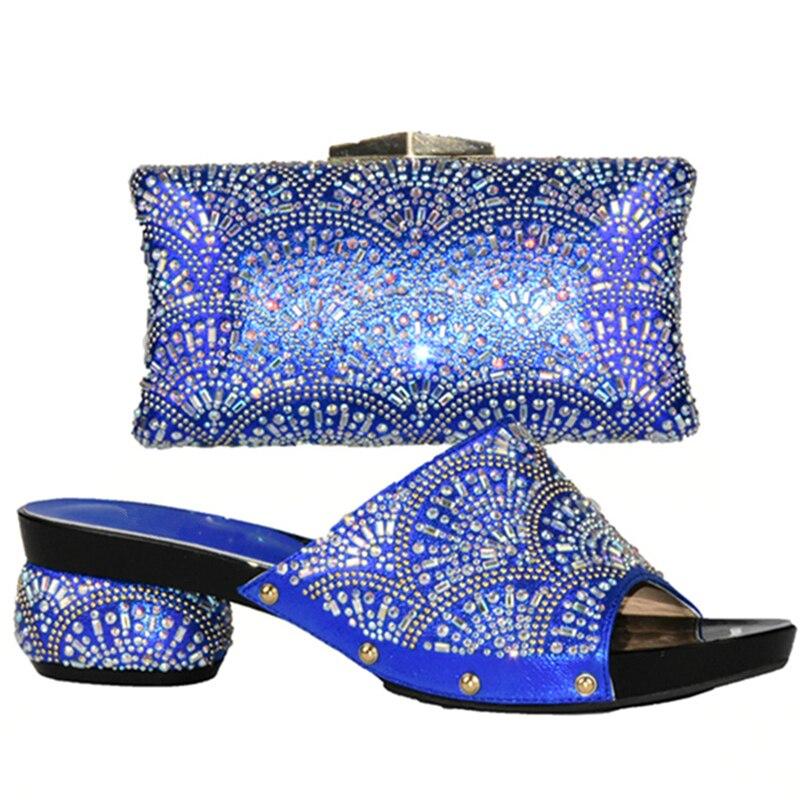Nouvelle Noir Partie Pour rouge Ensemble Strass Sac Femmes bleu Nigérian Chaussures Ensembles or Décoré Arrivée argent Et Avec Assorties m0w8vONn