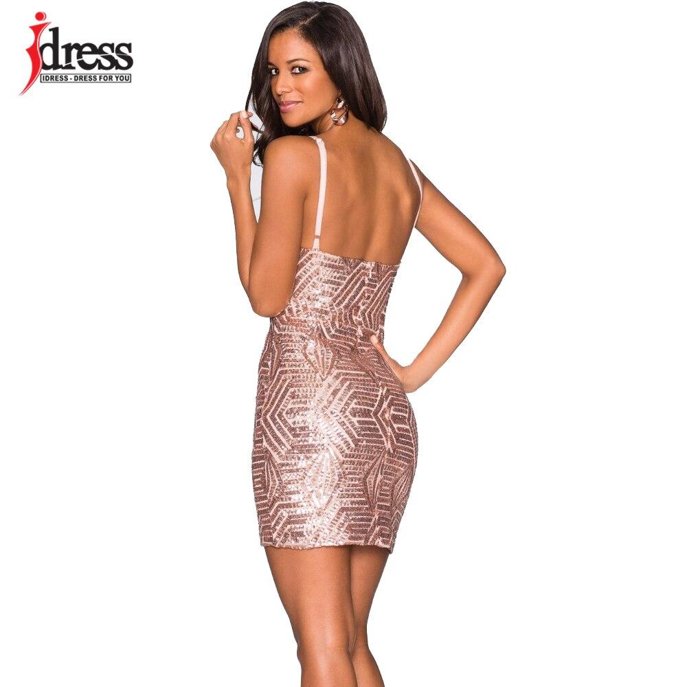 IDress Free Shipping Women Summer Bodycon Dress Black Gold Sequin ...