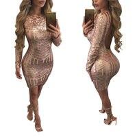 2016 Fashion High Quality Women Autumn Elegant Bodycon Sexy Club Backless Long Sleeve Sequined Dress Vestidos