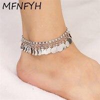 MFNFYH Shining Rhinestone Silver Anklet Bracelet Foot Jewelry Beach Wedding Copper Round Sequin Tassel Ankle Bracelets