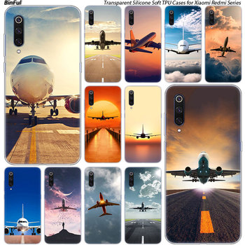 Airplane Departure Silicone Case For Xiaomi Pocophone F1 9T 9 9SE 8 A2 Lite A1 A2 Mix3 Redmi K20 7A Note 4 4X 5 6 7 Pro S2 Cover image