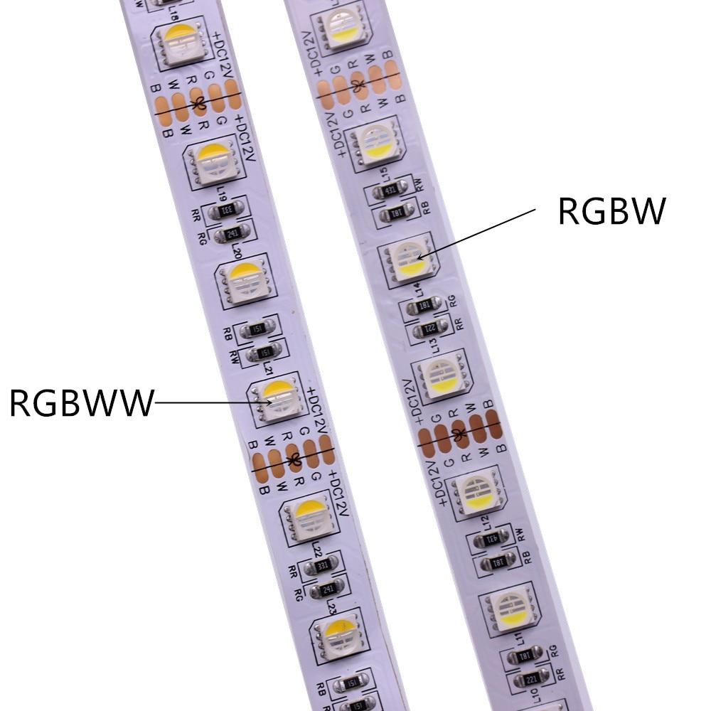 Tira de led rgb branca, 12v 24v smd5050 rgbw rgbww chip led 4 cores em 1, 60 led/m ip20 ip65 ip67 impermeável fita led