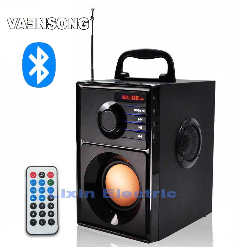 VAENSONG A10 kayu HiFi Bluetooth Speaker 2.1 Stereo Subwufer Portable Speaker Dengan Radio FM Dan USB Column MP3 pemain muzik