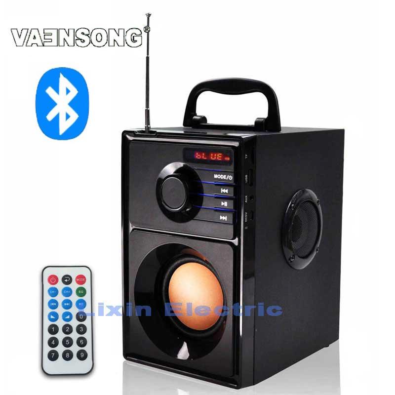 VAENSONG A10 En Bois HiFi Bluetooth Haut-Parleur 2.1 Stéréo Subwoofer Haut-parleurs Portables Avec Radio FM Et USB Colonne MP3 lecteur de musique