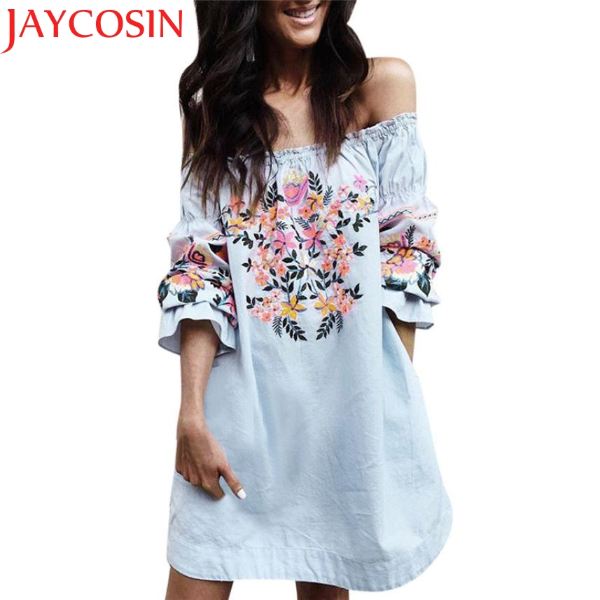 JAYCOSIN Drop Shipping Sexy Off Shoulder Flowers Print Ruffle Loose Party Dress For Women 170621