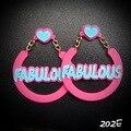 202E  Fashionable Big Round Pink Acrylic FABULOUS Jazz Girl Statement Large Circle Earrings   2015 Hottest stage pub Brincos