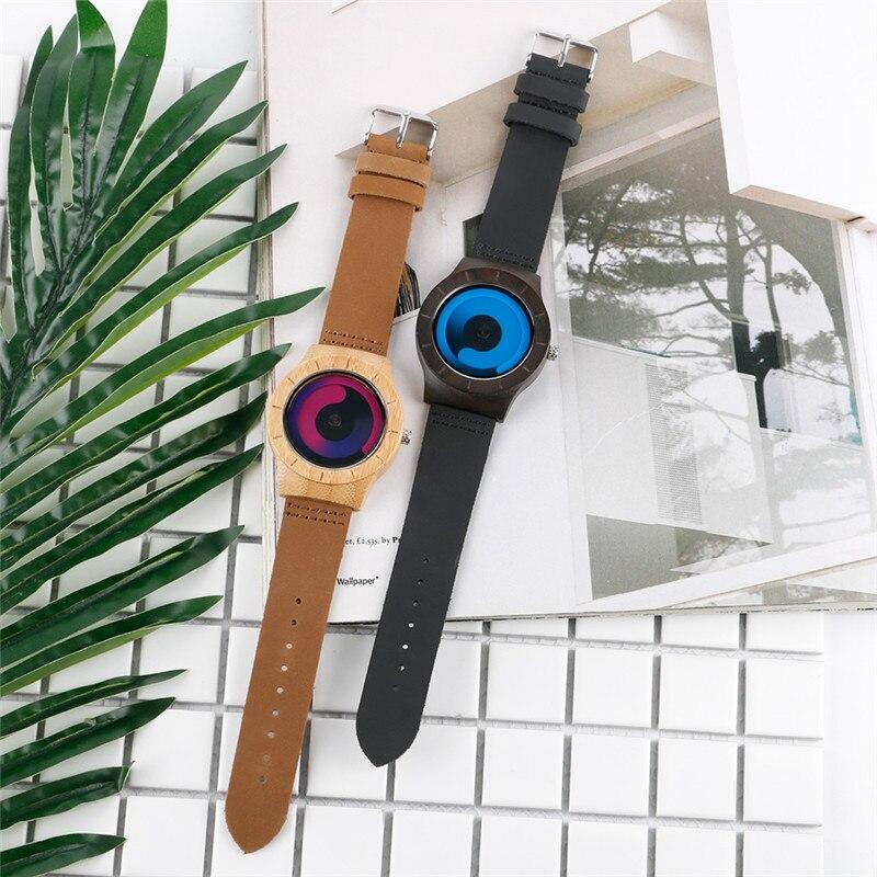 Casual Men Women Wooden Watch Novel Vortex Non-pointer Sport Bamboo Wristwatch Geek Concept Young People Wood Clock Cool Gifts 4