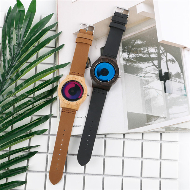 Casual Men Women Wooden Watch Novel Vortex Non-pointer Sport Bamboo Wristwatch Geek Concept Young People Wood Clock Cool Gifts 4
