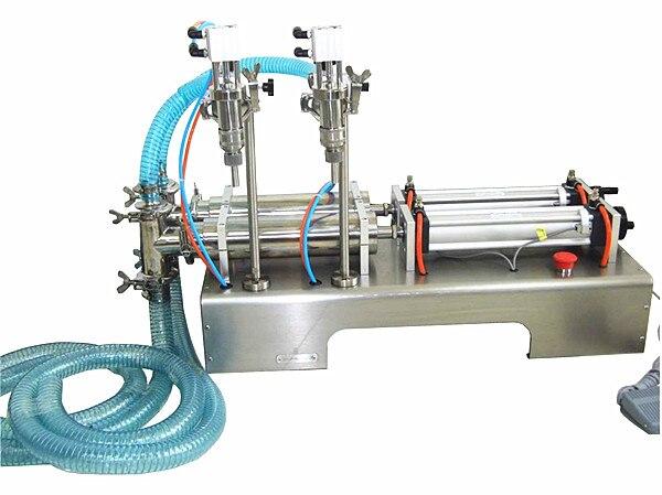 Pneumatic Double Nozzle Liquid Filling Machine 50-500ml for oil,juice,water,perfume,soft drink,milk,beverage