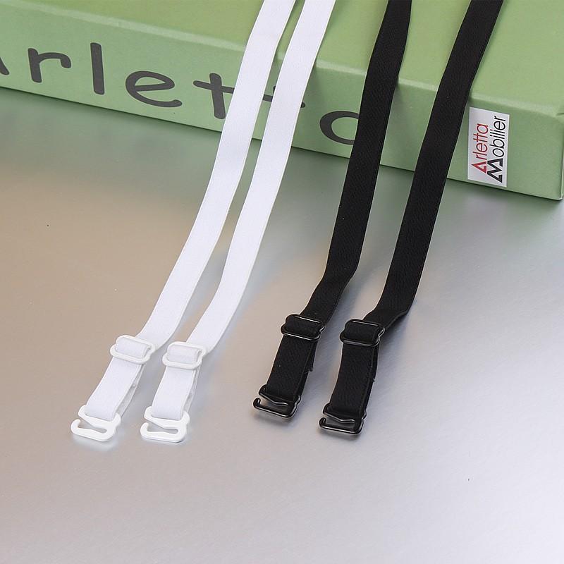 1 pair good quality black white 1cm width nylon elastic bra straps with metal clips 2