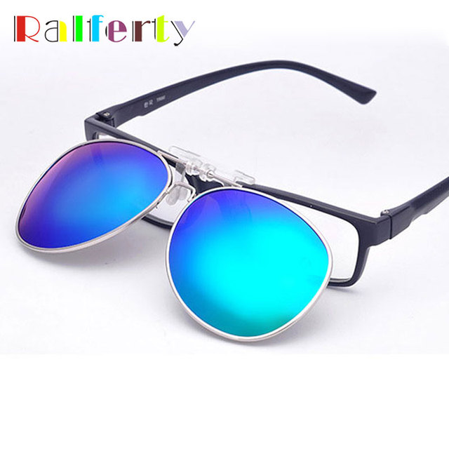 62d2c6b25ff7 Ralferty Pilot Mirrored Polarized Clip On Sunglasses Men Women Flip Up Lens  Driving Polaroid Fit Over Glasses Myopia Clip Oculo