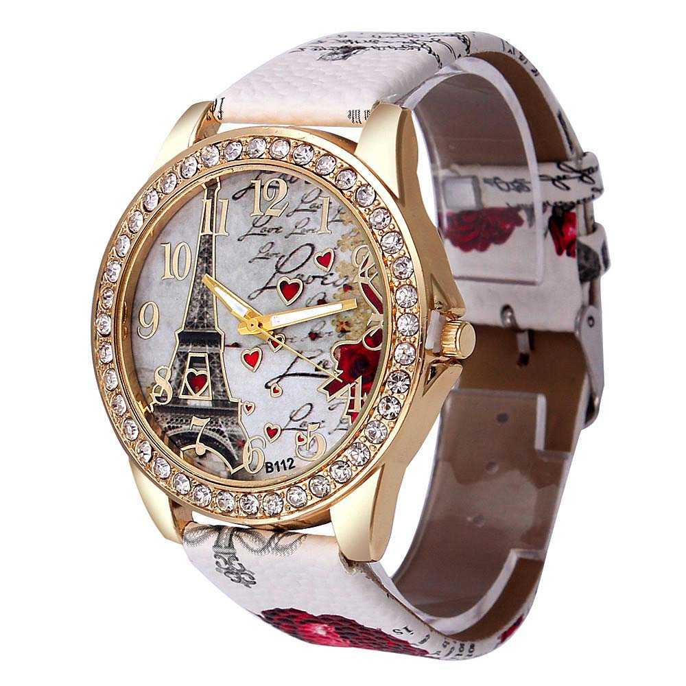 Fashion Women Watch Jeewlry PU Leather Band Watches Eiffel Tower Crystal Love Heart Casual Quartz Watches Wristwatch Gifts LL@17