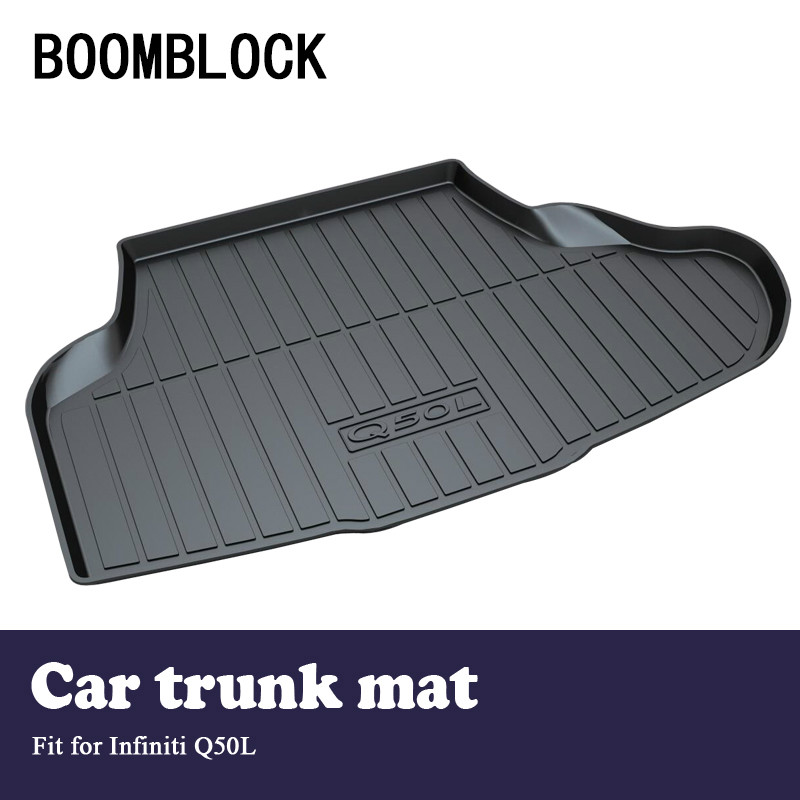 BOOMBLOCK For Infiniti Q50 Q50L Waterproof Anti-slip Car Trunk Mat Tray Floor Carpet Pad Protector Auto Accessories boomblock for infiniti q50 q50l waterproof anti slip car trunk mat tray floor carpet pad protector auto accessories