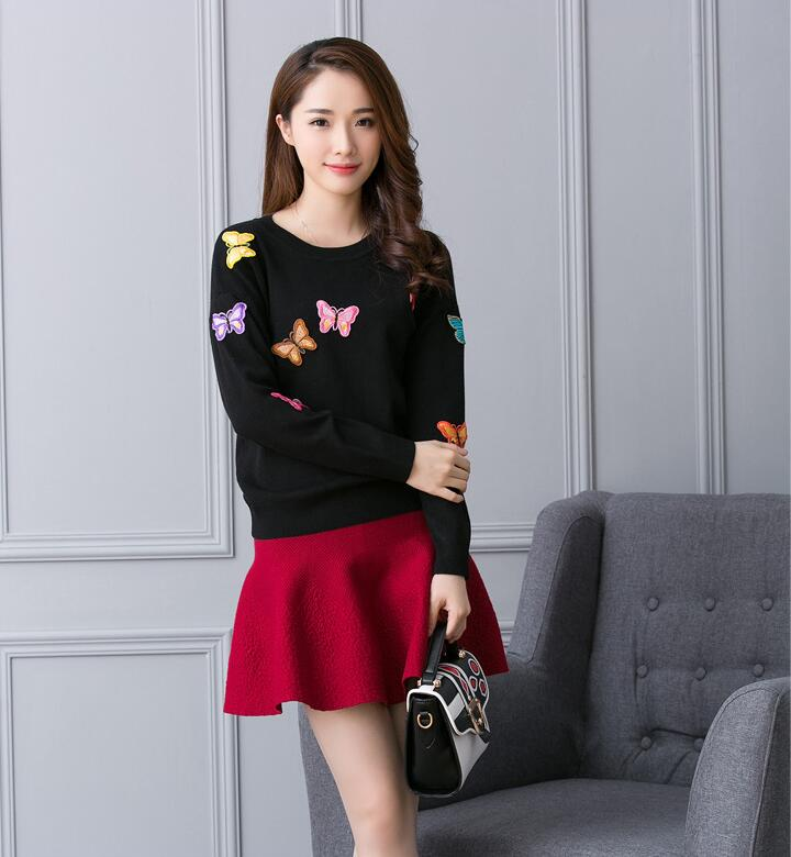 Iceinside Korean Women Knitted Embroidered Pullover Sweater Women's Butterfly Flower Sweater Femme Tricot Pull Jumper Tops