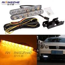 RXZ DRL LED Akan Gündüz Çalışan Işık + Turn sinyal Far bar beyaz/sarı araba-şekillendirici Süper Parlak 12 v Su Geçirmez
