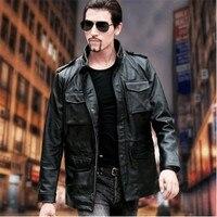 Male spring Autumn men's genuine Leather biker Fashion jacket Brand classic men cow leather Jacketssales plus size