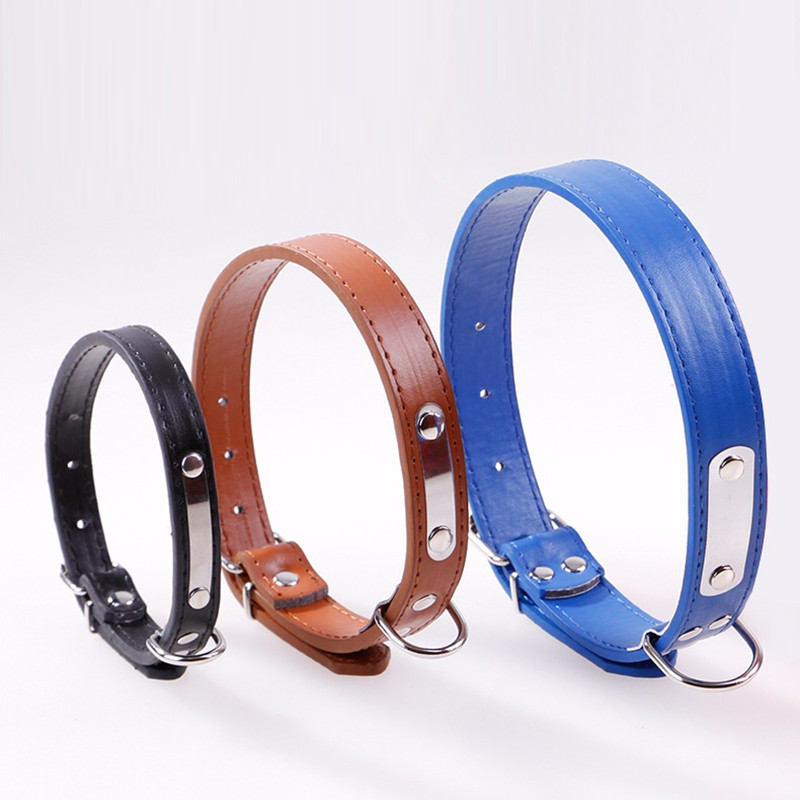 Dog Collar PU Leather With Tag Adjustable Collar For Dog Pet Accessories Collars For Dog Cat Small Dog Supplies Free Shipping