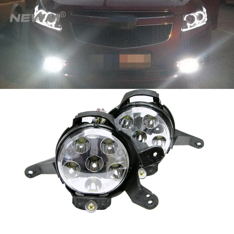 Фотография 2pcs fog lights car led light white yellow color 18w round led fog lamp replacement kits for Chevrolet Cruze 2009 -2014fog lamps
