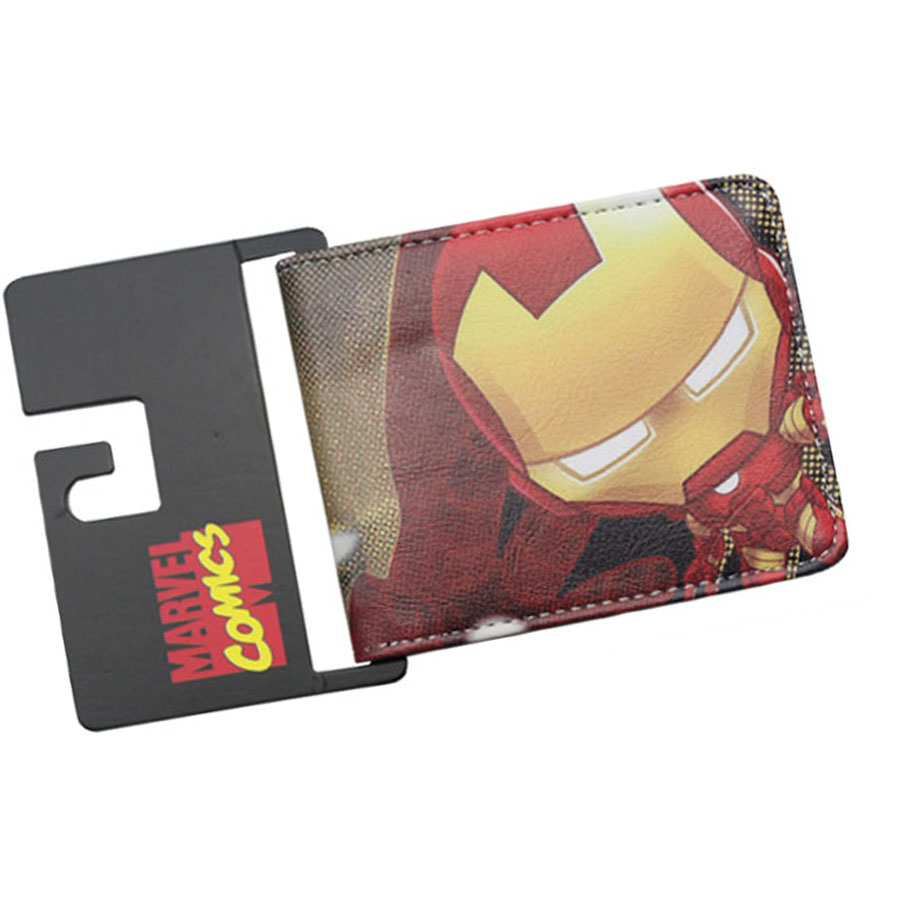 Superhero Iron Man Caption America Anime Wallet Dollar Price Money Balso Zipper Card Holder Zipper Coin Purse Short Female Purse dc movie hero bat man anime men wallets dollar price short feminino coin purse money photo balsos card holder for boy girl gift