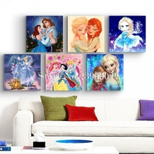 Diy Diamond Embroidery Princess Girls Painting Square Full Drill Cartoon Series Children Bedroom