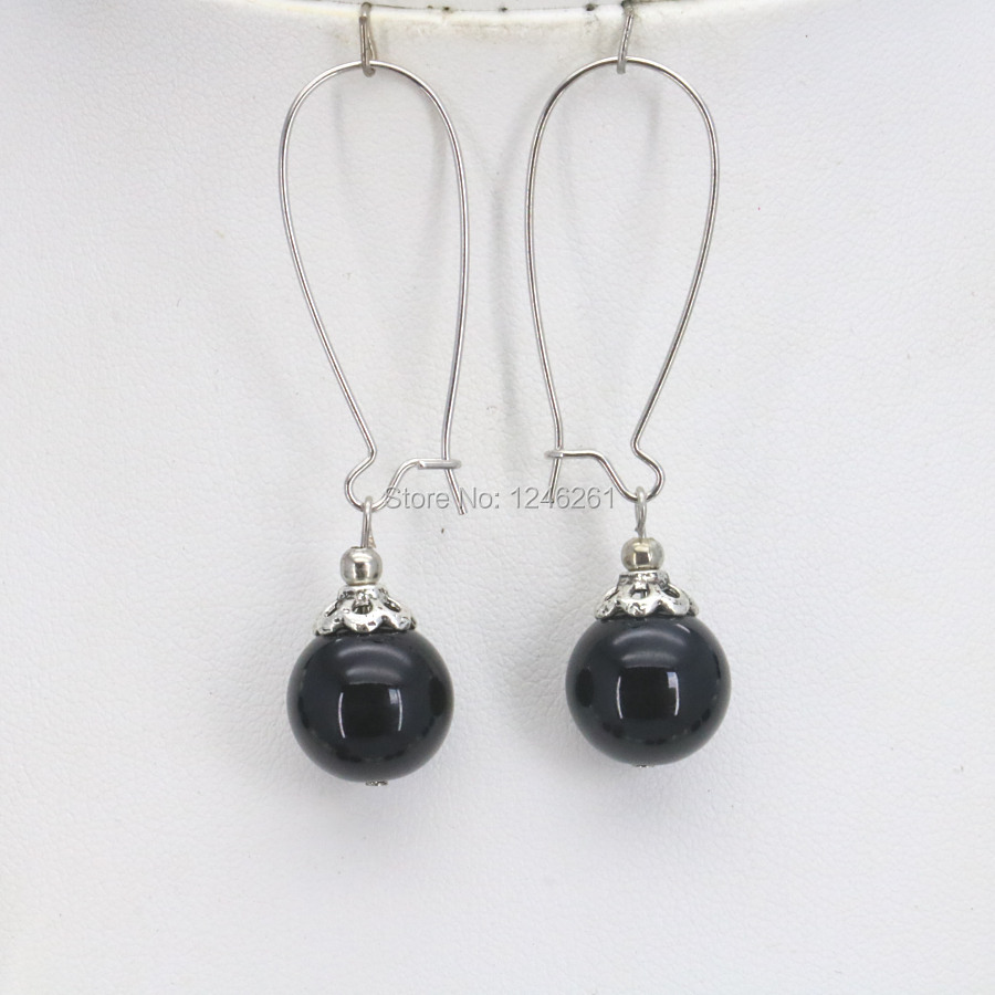 Hot Sale Christmas Gifts Girls 10mm Black Glass Pearl Beads Earrings ...