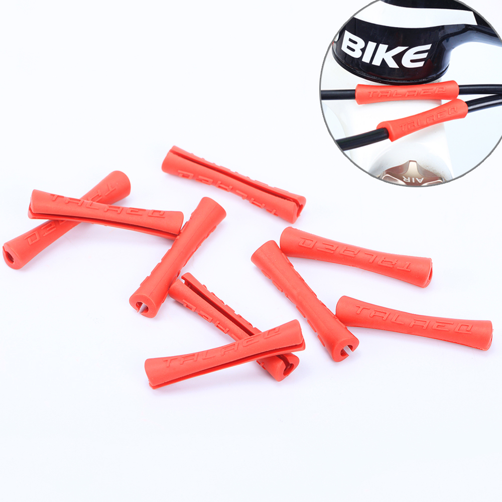 4pcs Bicycle Cable Rubber Protector Sleeve For Shift Brake Line Pipe Ultralight Bike Frame Protection Cable Guides, 3 Colors