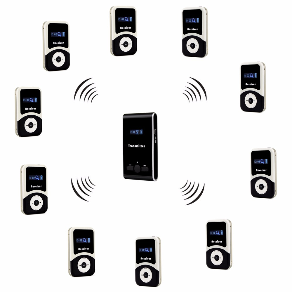 ANDERS Wireless Tour Guide System 1pcs Transmitter+10pcs Receiver for Tour Guiding Simultaneous Translation Interpretation F4508 anders wireless tour guide system 1 transmitter 2 receiver for tour guiding simultaneous translation interpretation system f4506