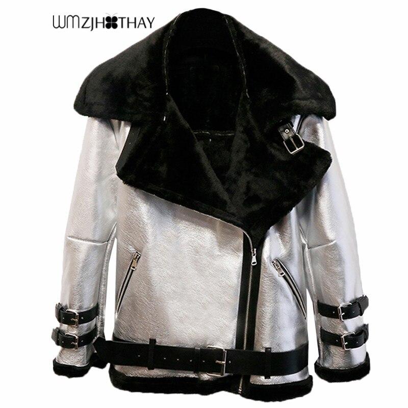 2 Styles Mid Long Women Winter Thicken PU   Leather   Streetwear Motor Coat Female Turn Down Collar Wool Outwear Ladies Warm Coats