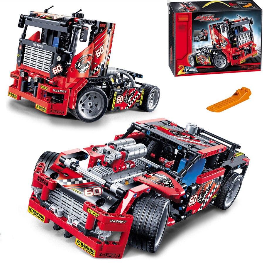 608 pièces voiture de camion de course 2 en 1 Transformable camion de lutte contre l'incendie Legoings modèle bloc de construction ensembles jouets enfants cadeau