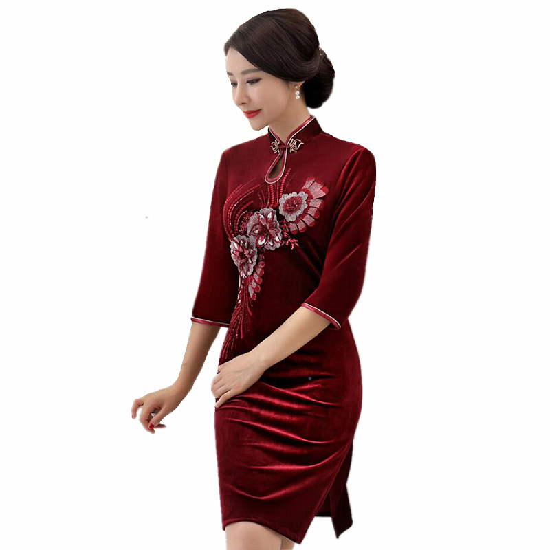 Romantic Fashion Womens Mini Cheongsam New Arrival Chinese Style Velour Dress Elegant Qipao Vestidos Size S M L Xl Xxl Xxxl 4xl Td0072 Catalogues Will Be Sent Upon Request Women's Clothing