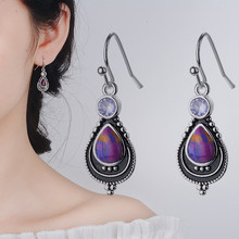 womens fashion jewelry  vintage purple stone ear earrings for lady wholesale 925 silver anniversary gifts