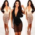 2017 Hot Sexy V-образным Вырезом Женщины Dress Вечер Mini Dress Блестками Холтер прозрачный Молния Кружева Dress Elegent Женщины Vestido