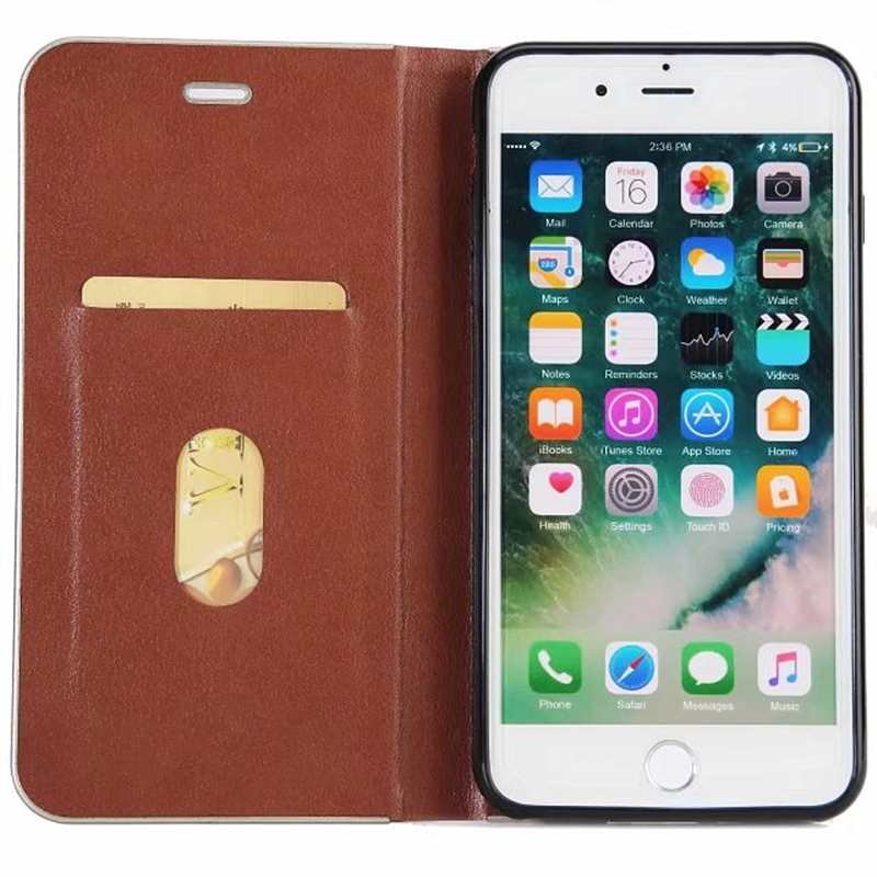 For Apple iPhone 7 Case Metal border Leather & Silicone Flip Cover iPhone 7 Plus Case With Stand Wallet Coque For iPhone7 Plus