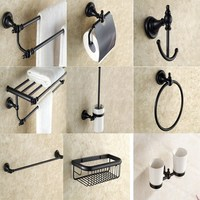 Black Oil Rubbed Antique Brass Bath Hardware Wall Mounted Bathroom Accessories Set Toilet Paper Holder Towel
