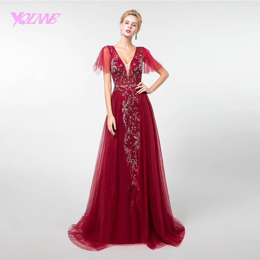 YQLNNE Wine Red Crystals Long   Prom     Dresses   Deep V-neck Beading Tulle Vestido de Festa 2019