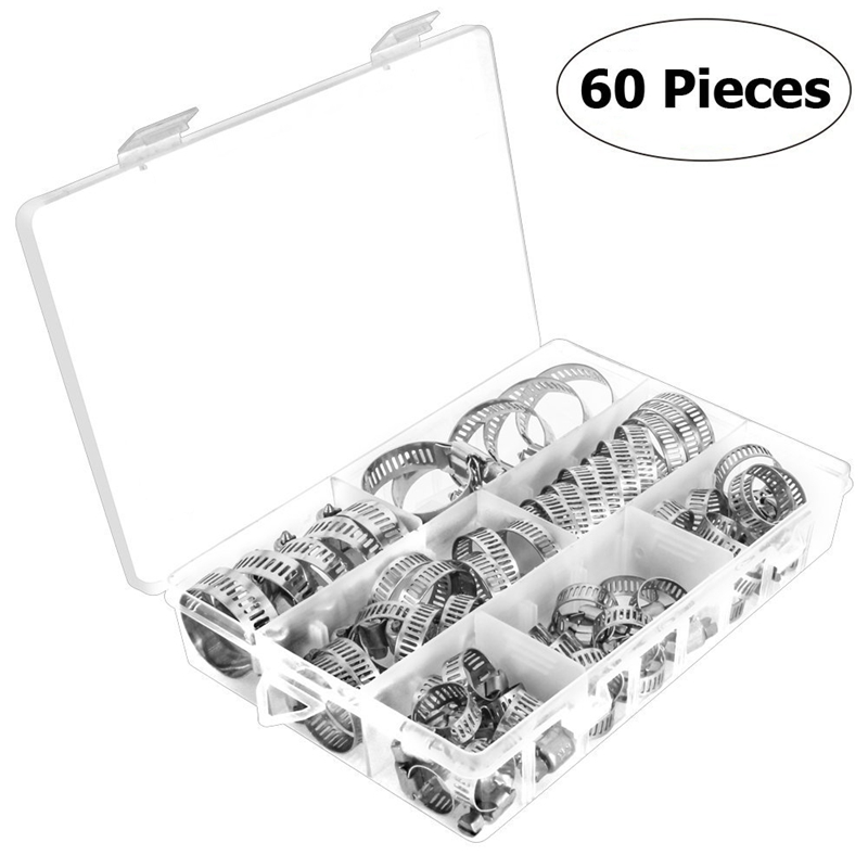 60PCS Adjustable Hose Clamps Worm Gear Stainless Steel Clamp Assortment Lot Kit new 34pcs carbon steel worm gear adjustable hose clamps assortment set 16mm 32mm